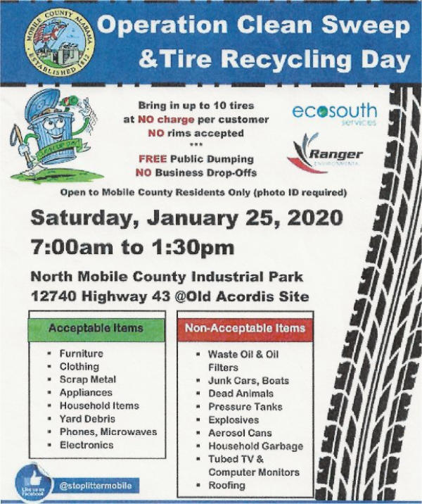 Operation Clean Sweep & Tire Recycling January 25, 2020